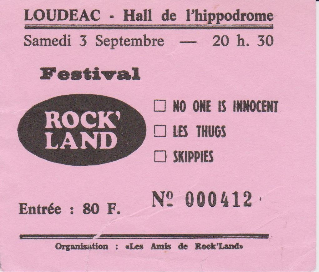 "3 septembre 1994 No One is Innocent, Les Thugs, Skippies à Loudeac ""Hall de l'Hippodrome"""