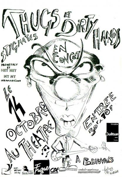 "14 octobre 1995 Stygmate, Dirty Hands, Les Thugs à Beauvais ""Theatre"""