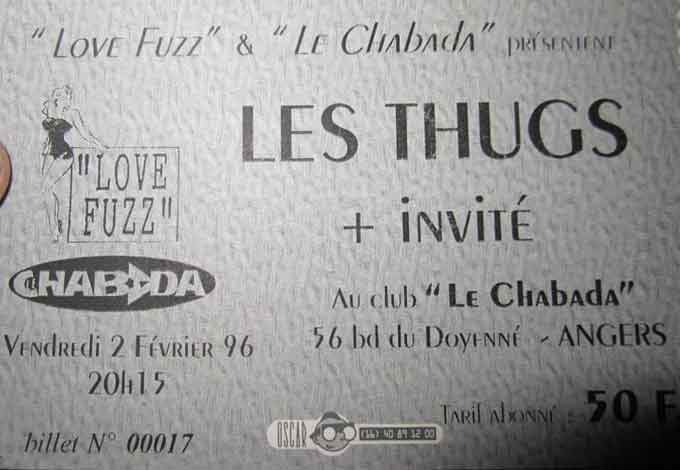 """2 fevrier 1996 Heliogabale, Les Thugs à Angers """"le Chabada"""""""