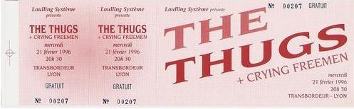 """21 fevrier 1996 Crying Freeman, Les Thugs à Villeurbanne """"Transbordeur"""""""