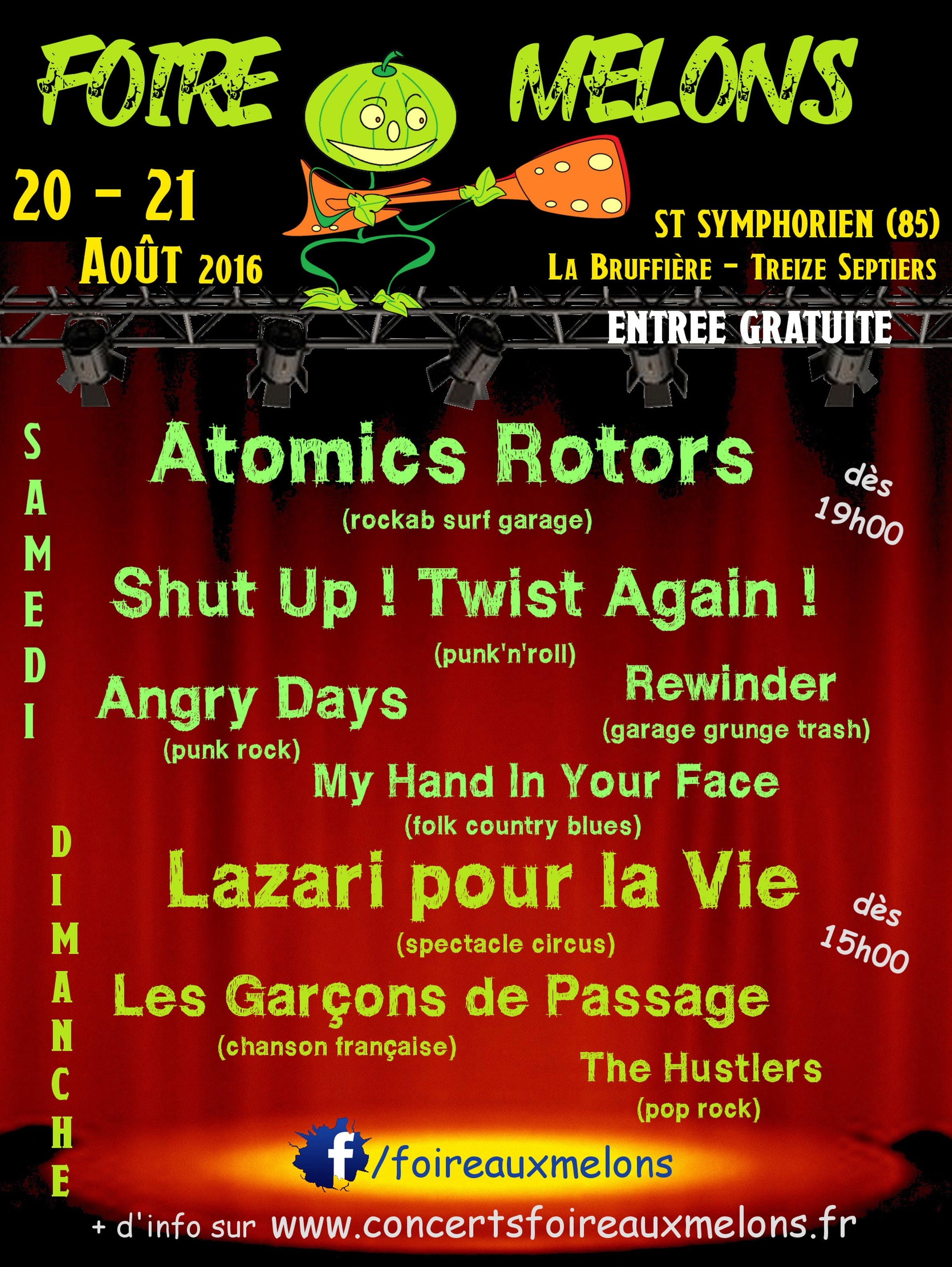 20 aout 2016 My Hand In Your Face, Rewinder, Atomics Rotors, Angry Days, Shut Up Twist Again à Saint Symphorien