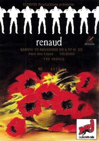 """19 novembre 1988 Renaud à Orléans """"Parc Des Expositions"""""""