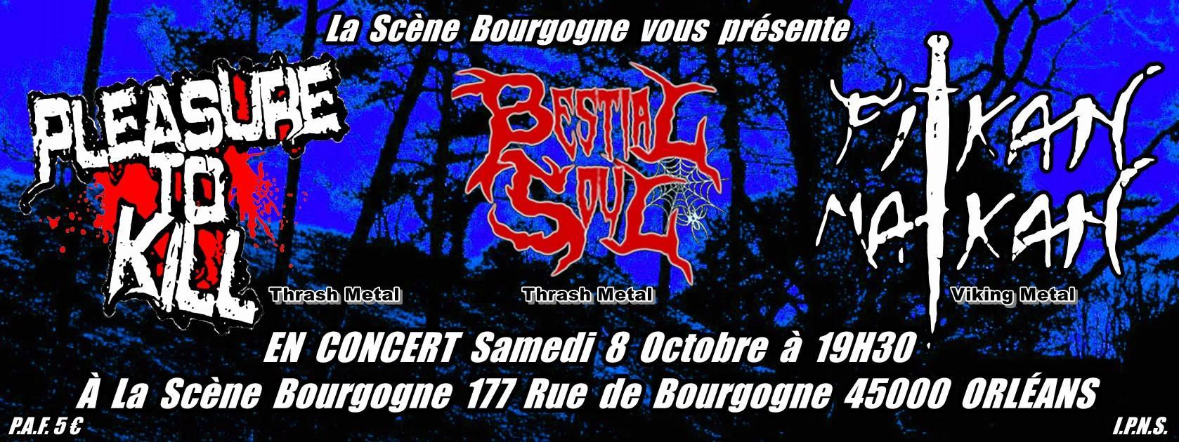 "8 Octobre 2016 Bestial Soul, Pleasure To Kill, Pitkan Matkan à Orléans ""La Scène Bourgogne"""