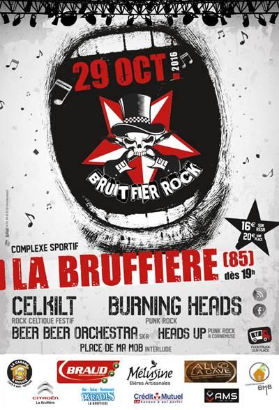 29 Octobre 2016 Place de ma Mob, Heads Up, Beer Beer Orchestra, Burning Heads, Celkilt à La Bruffière