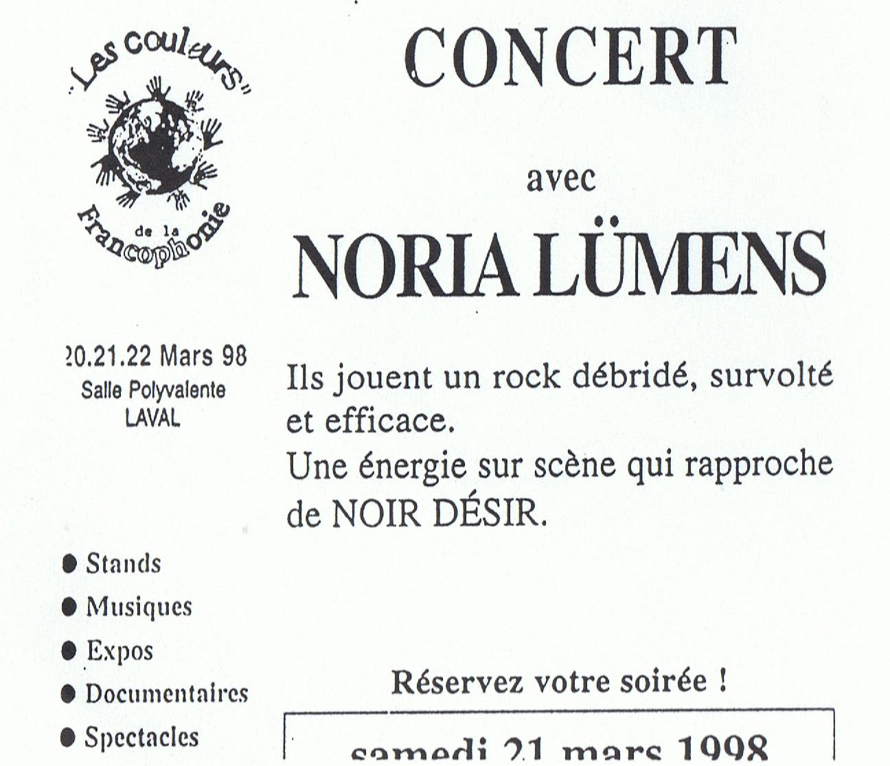 "21 mars 1998 Noria Lümens à Laval ""Bar des Artistes"""