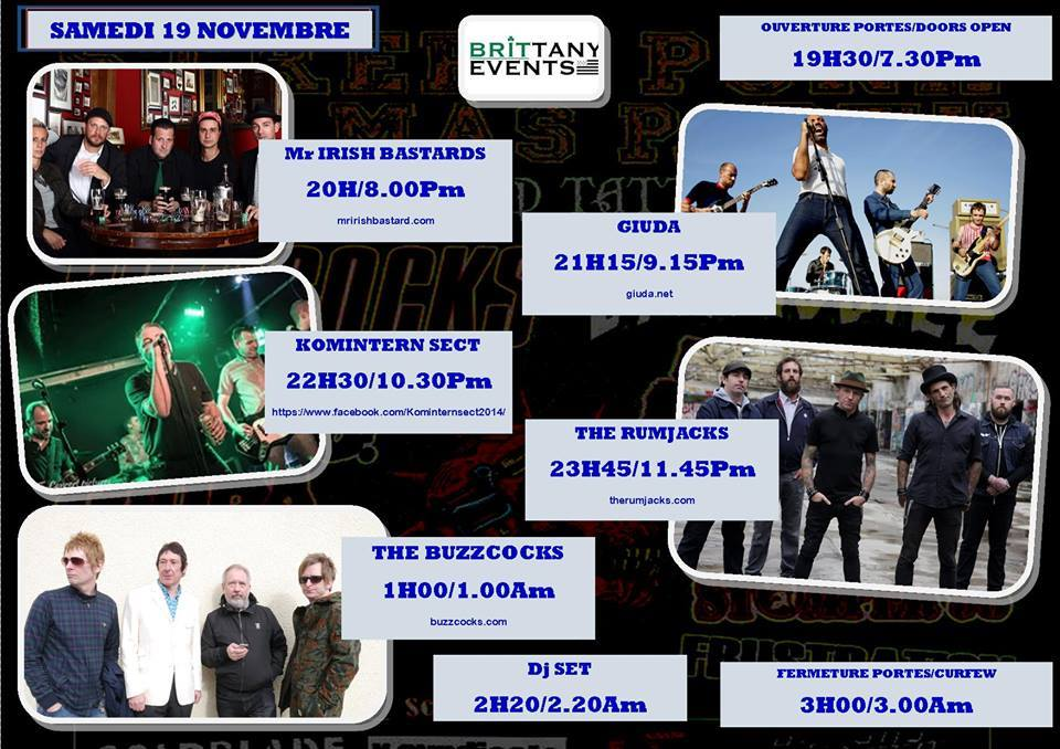 19 novembre 2016 Mr Irish Bastards, Giuda, Komintern Sect, The Rumjacks, The Buzzcooks à Saint Brieuc