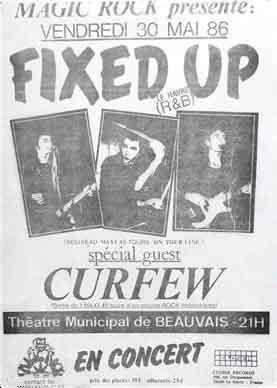 "30 mai 1986 Curfew, Fixed Up à Beauvais ""Theatre Municipal"""