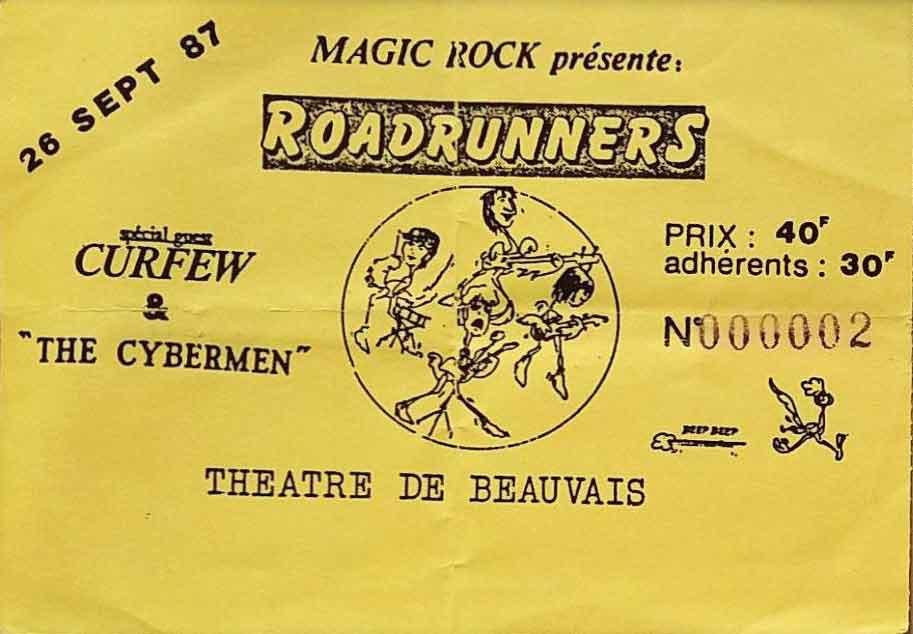 """26 septembre 1987 The Cybermen, Curfew, Roadrunners à Beauvais """"Theatre"""""""