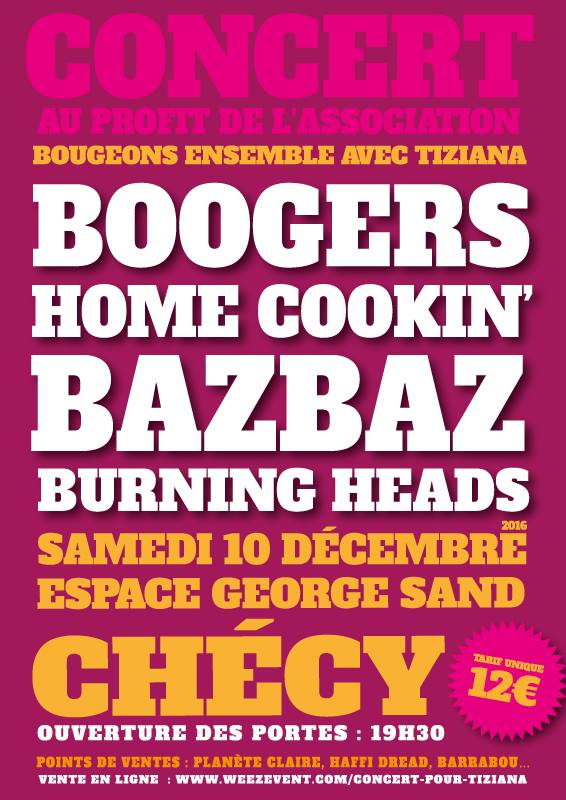 "10 décembre 2016 Boogers, Home Cookin', Bazbaz, Burning Heads à Checy ""Espace George Sand"""