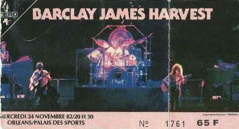 """24 novembre 1982 Barclay James Harvest à Orléans """"Palais des Sports"""""""