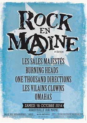 """18 octobre 2014 Omahas, Les Vilains Clowns, One Thousand Directions, Burning Heads, Les Sales Majestés à Aigrefeuille sur Maine """"Salle des Richardières"""""""