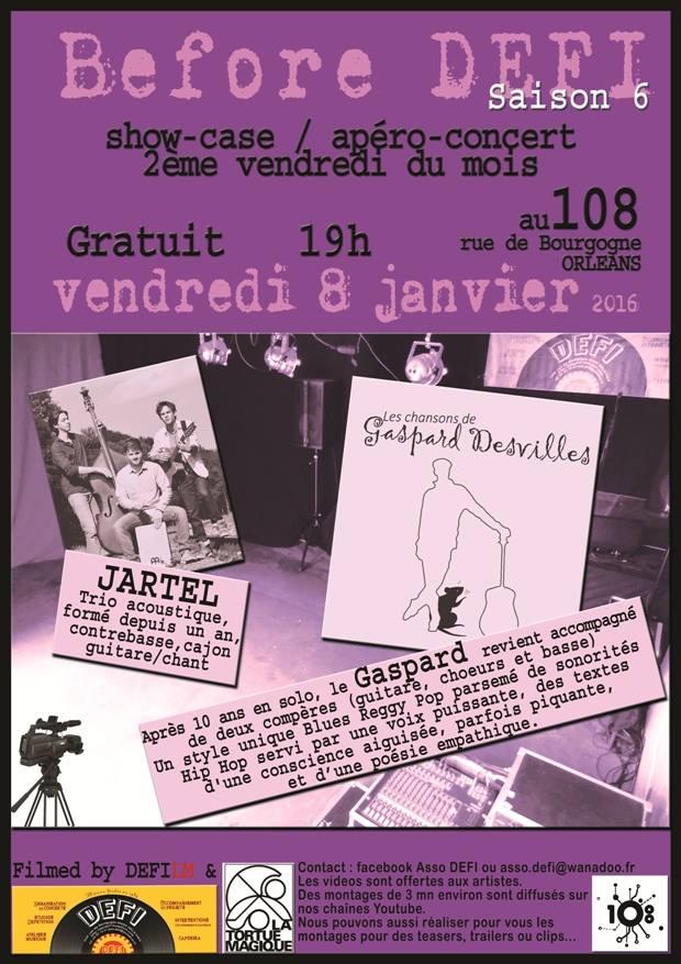 """8 janvier 2016 Jartel, Gaspard Desvilles à Orléans """"le 108"""""""