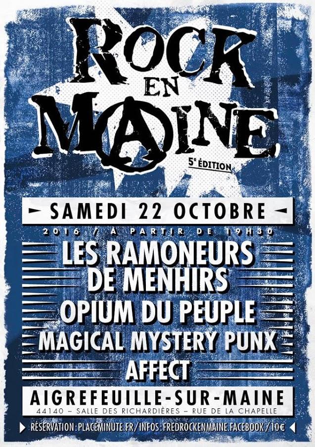 """22 octobre 2016 Affect, Magical Mystery Punx, Opium Du Peuple, Les Ramoneurs de Menhirs à Aigrefeuille Sur Maine """"Salle des Richardières"""""""