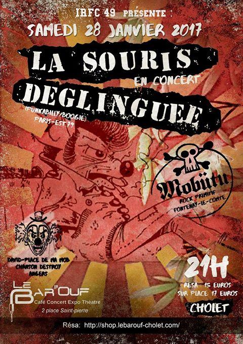 """28 janvier 2017 Place de ma Mob, Mobutu, La Souris Deglinguée à Cholet """"le Bar'ouf"""""""