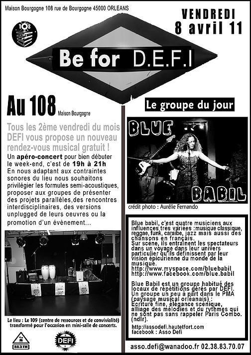 """8 avril 2011 Blue Babil à Orléans """"le 108"""""""