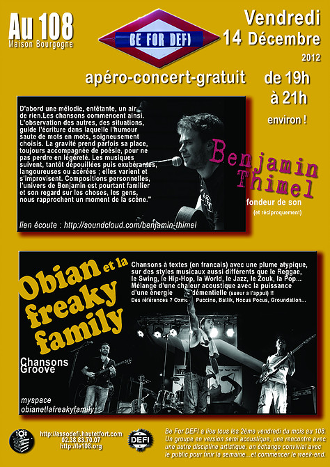 """14 decembre 2012 Benjamin Thimel, Obian et la Freaky Family à Orléans """"le 108"""""""