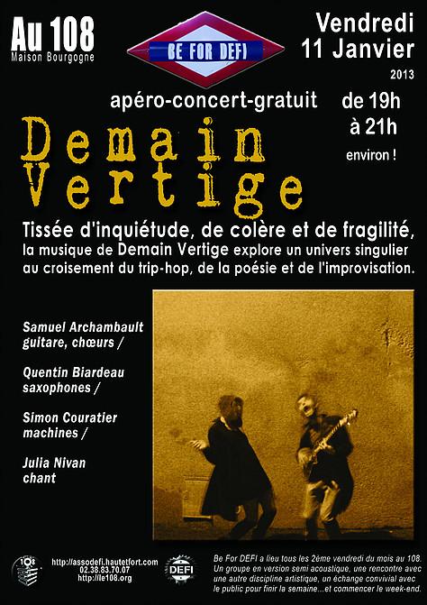 """11 janvier 2013 Demain Vertige à Orléans """"le 108"""""""