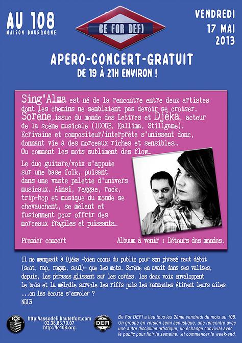 "17 mai 2013 Sing' Alma à Orléans ""le 108"""