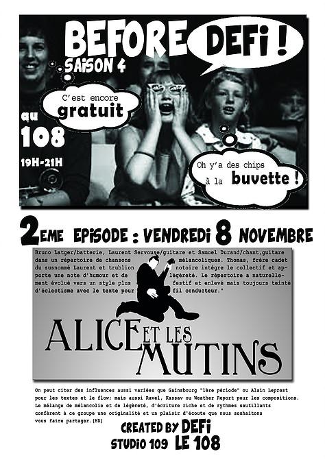 """8 novembre 2013 Alice et les Mutins à Orléans """"le 108"""""""