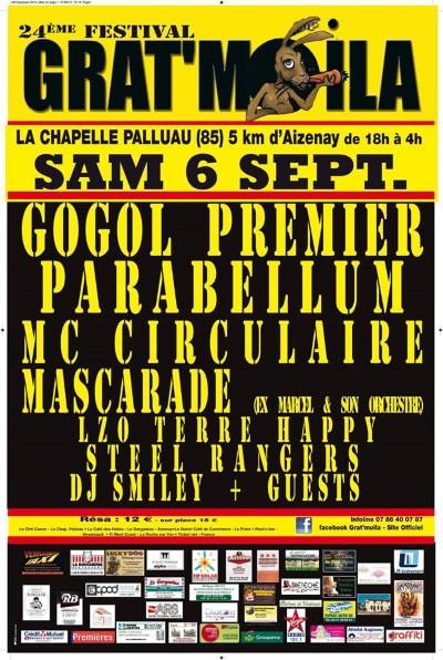 6 septembre 2014 Steel Rangers, Mascarade, Parabellum, Gogol 1er, MC Circulaire à La Chapelle Palluau