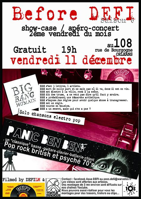 """11 décembre 2015 Big Band Humain (BBH), Panic Ben Ben à Orléans """"le 108"""""""