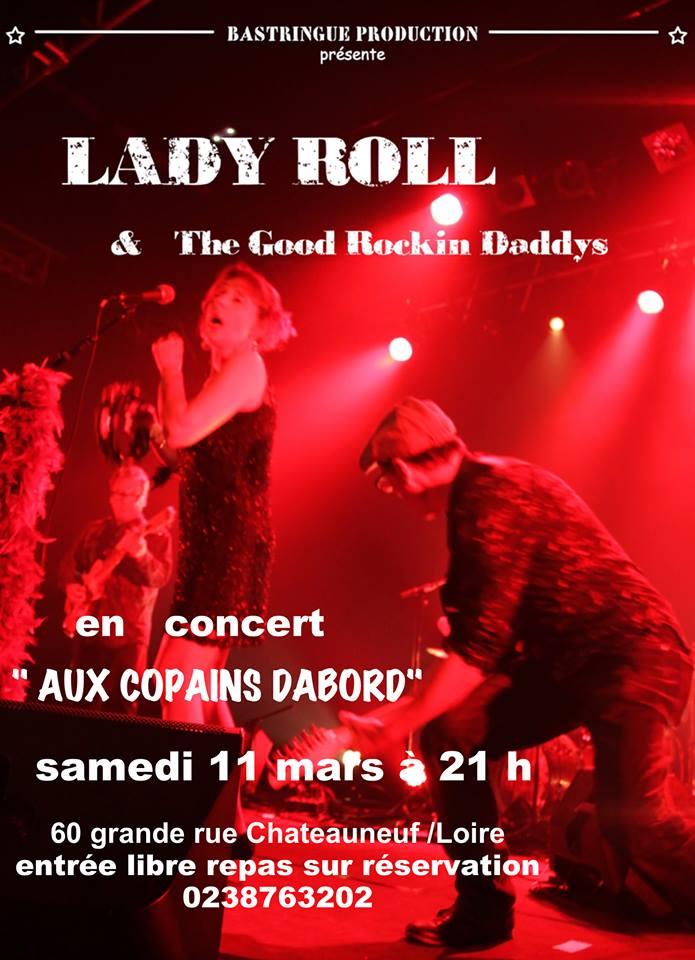 """11 mars 2017 Lady Roll & the Good Rockin Daddys à Chateuneuf Sur Loire """"Aux Copains d'abord"""""""