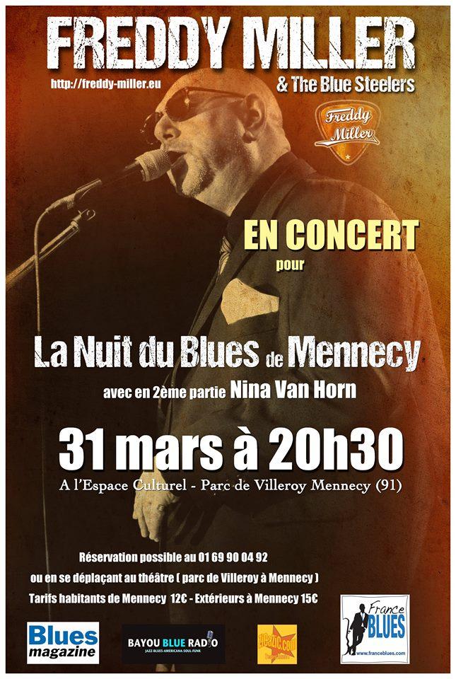 """31 mars 2017 Freddy Miller, Nina Van Horn à Mennecy """"Espace Culturel"""""""
