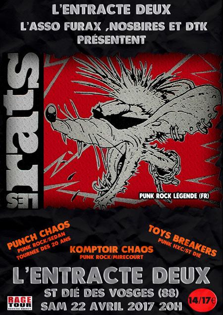 """22 avril 2017 les Rats, Punch Chaos, Komptoir Chaos, Toys Breakers à Saint Die des Vosges """"l'Entracte Deux"""""""