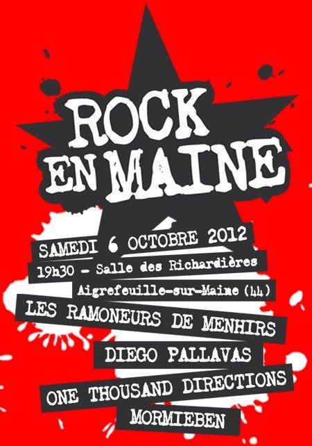 """6 octobre 2012 Mormieben, One Thousand Directions, Diego Pallavas, Les Ramoneurs de Menhirs à Aigrefeuille sur Maine """"Salle des Richardières"""""""