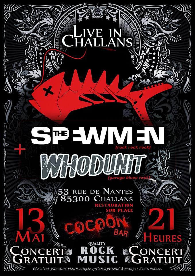 """13 mai 2017 Whodunit, the Spewmen à Challans """"Cocoon Bar"""""""