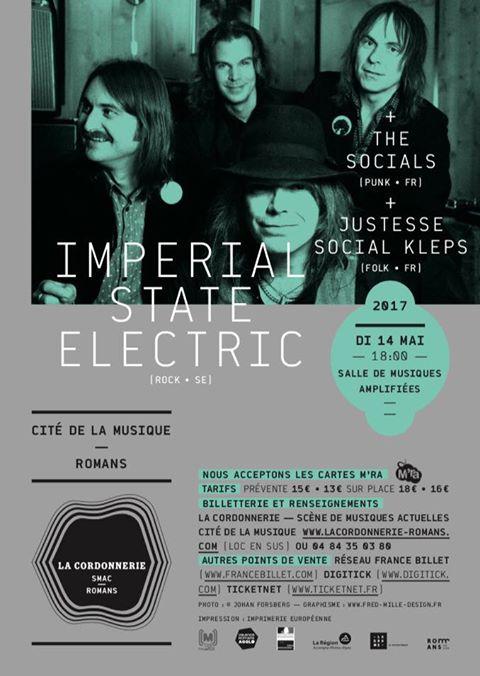 """14 mai 2017 Social Justesse Kleps, The Socials, Imperial State Electric à Romans """"Cité de la Musique"""""""