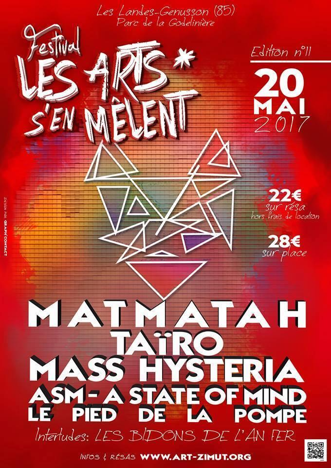 """20 mai 2017 Les Bidons de l'An Fer, Le Pied de la Pompe, ASM - A State Of Mind, Mass Hysteria, Tairo, Matmatah à Landes Genusson """"la Godelinière"""""""
