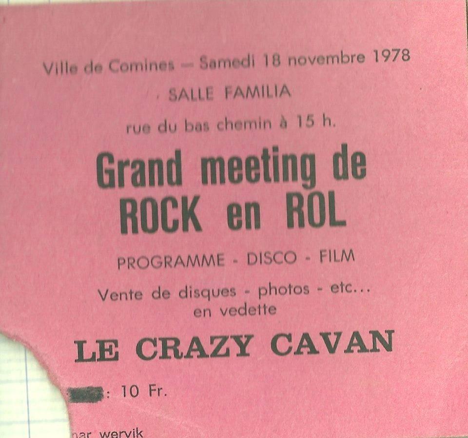 """18 novembre 1978 Crazy Cavan à Comines """"Salle Familia"""""""