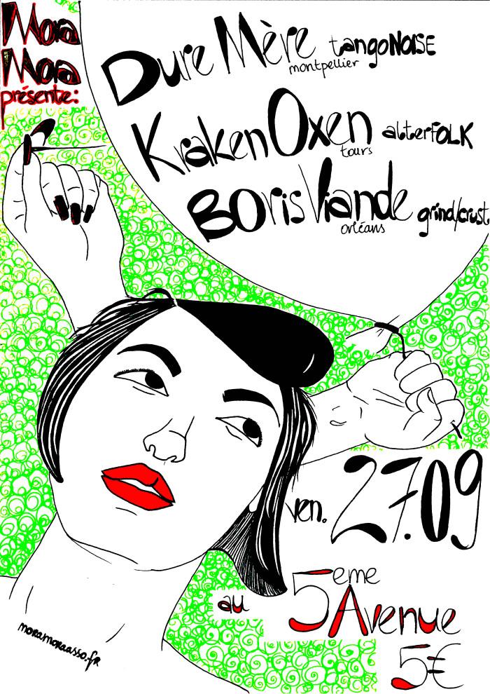 """27 septembre 2013 Boris Viande, Kraken Oxen, Dure Mere à Orléans """"5ème Avenue"""""""