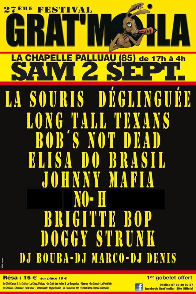 2 septembre 2017 Doggy Strunk, Brigitte Bop, No-H, Johnny Mafia, Elisa Do Brasil, Bob's Not Dead, Long Tall Texans, La Souris Déglinguée à La Chapelle Palluau