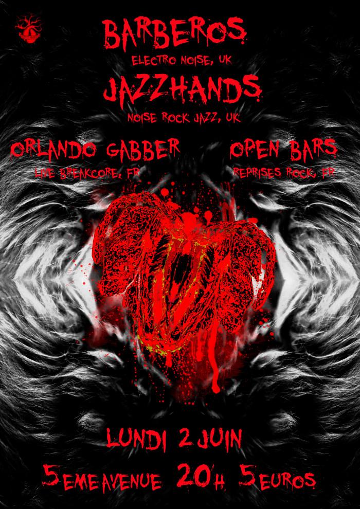 """2 juin 2014 Barberos, Jazzhands, Orlando Gabber, Open Bars à Orléans """"5ème Avenue"""""""