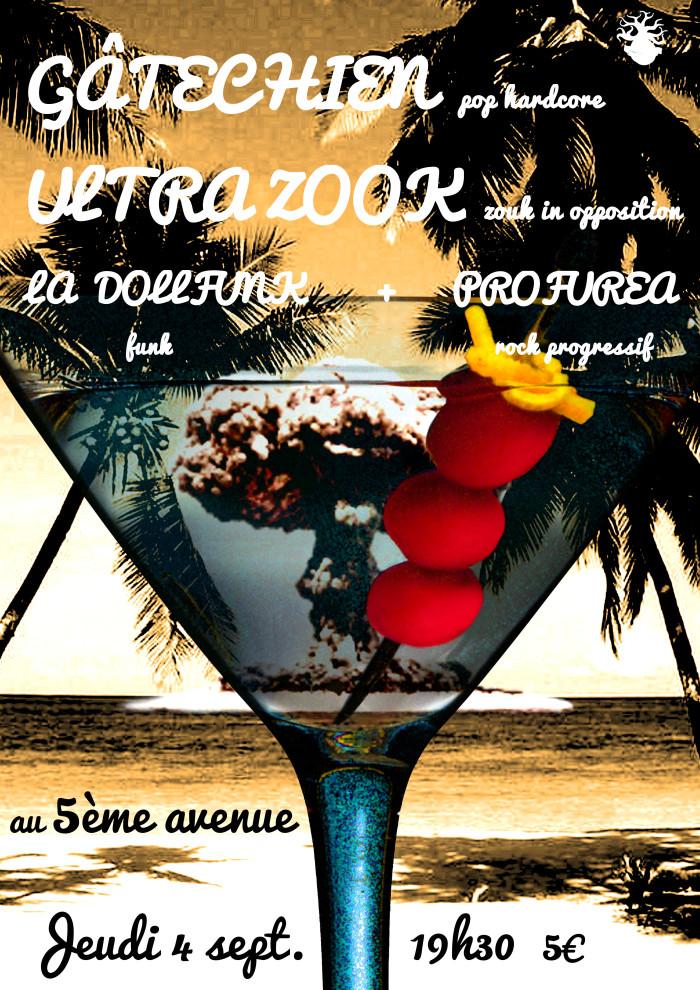 """4 septembre 2014 Gâtechien, Ultra Zook, La Dollfunk, Profurea à Orléans """"le 5ème Avenue"""""""