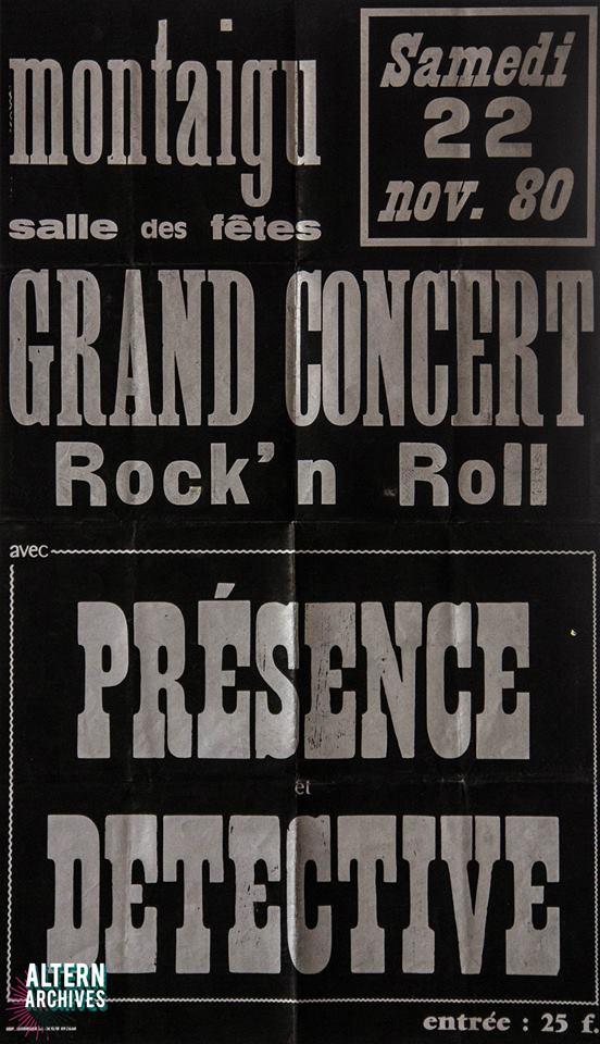 """22 novembre 1980 Presence Detective à Montaigu """"Salle des Fêtes"""""""