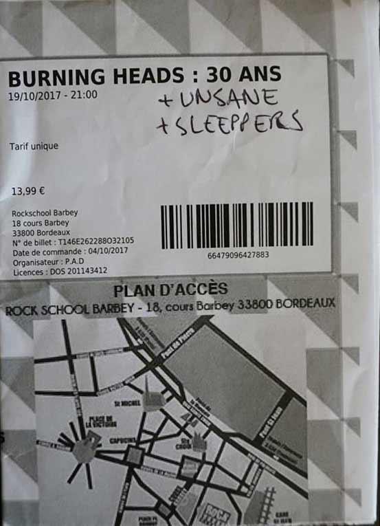 "19 octobre 2017 Burning Heads, Unsane, Sleeppers à Bordeaux ""Rock School Barbey"""