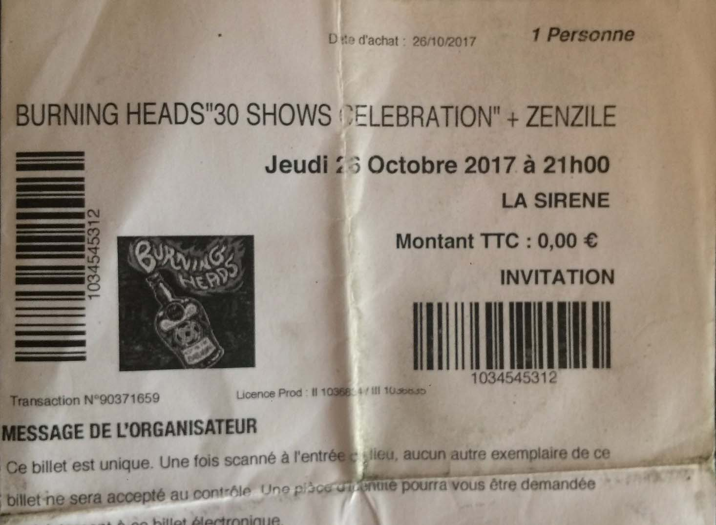 "26 octobre 2017 Burning Heads à La Rochelle ""Au Huit"" + Zenzile, My Dirty Heart ""La Sirene"""