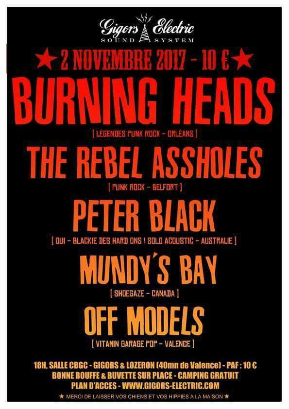 "2 novembre 2017 Burning Heads, The Rebel Assholes, Peter Black, Mundy's Bay, Off Models à Gigors ""CBGC"""