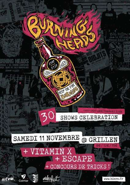 "11 novembre 2017 Burning Heads, Vitamin X, Escape à Colmar ""Grillen"""