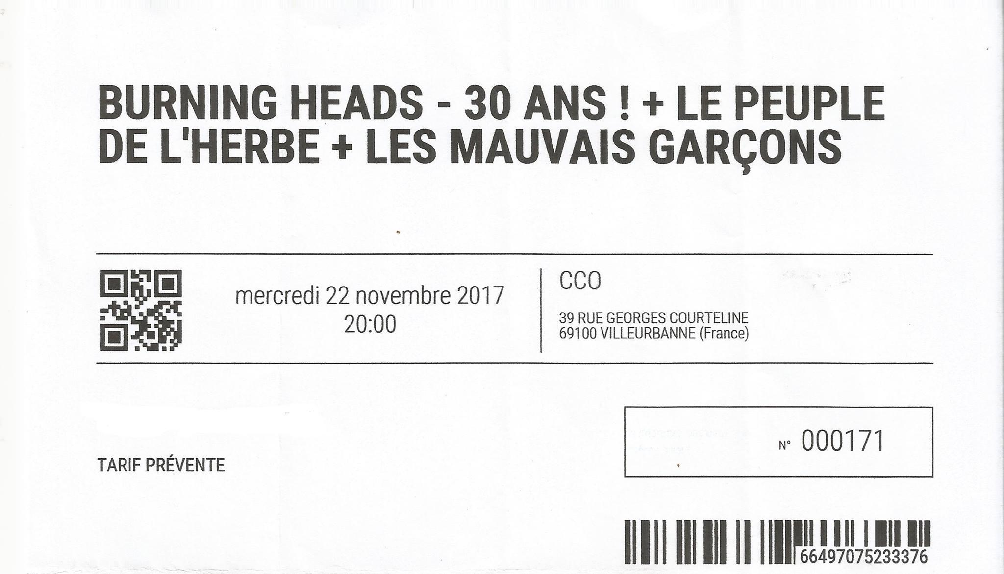 """22 novembre 2017 Burning Heads, Le Peuple de l'Herbe, Les Mauvais Garçons à Villeurbanne """"CCO"""""""