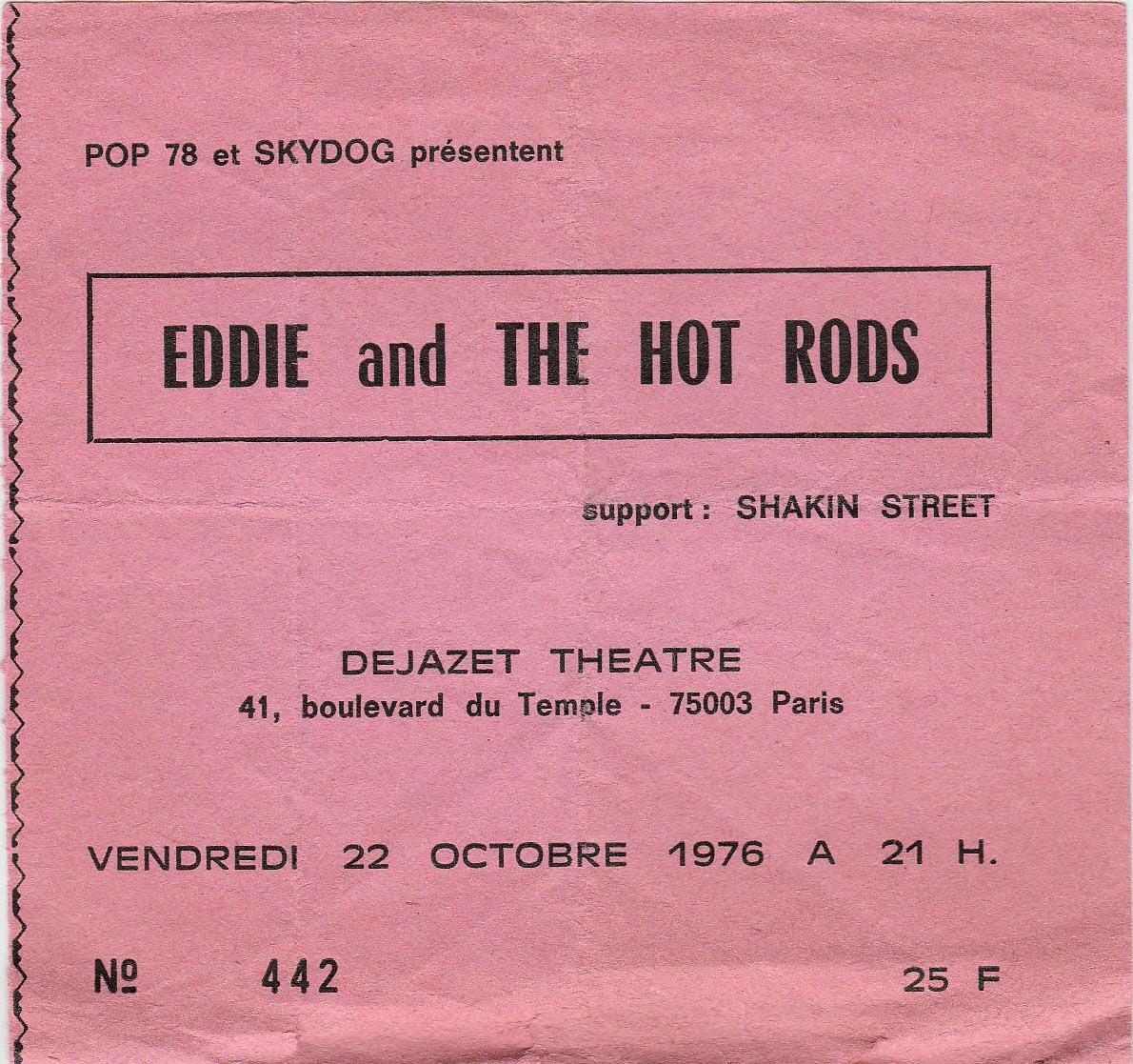 """22 octobre 1976 Eddie & The Hot Rods à Paris """"Dejazet Theatre"""""""