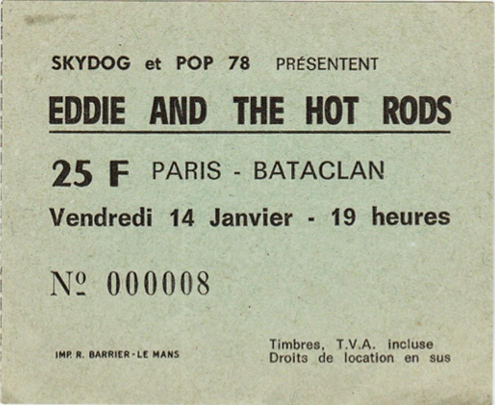 """14 janvier 1977 Eddie & The Hot Rods à Paris """"le Bataclan"""""""