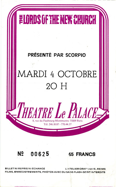"4 Octobre 1983 The Lords Of The New Church à Paris ""Theatre le Palace"""