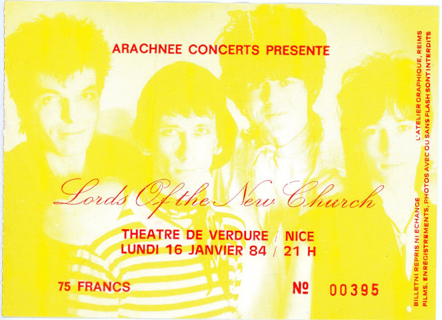 "16 janvier 1984 Lords Of The New Church à Nice ""Theatre de verdure"""