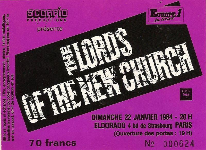 "22 janvier 1984 The Lords Of The New Church à Paris ""Eldorado"""
