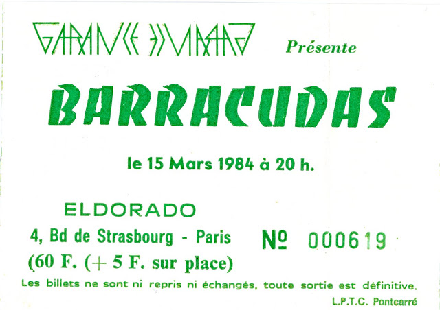 """15 mars 1984 Barracudas à Paris """"Eldorado"""""""