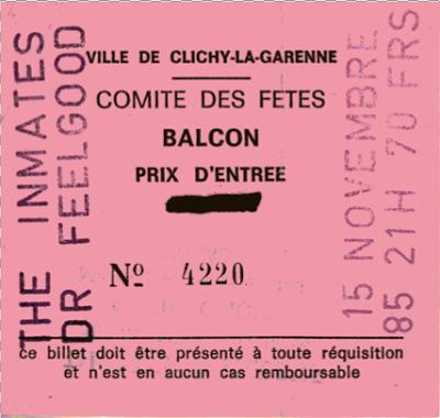 """15 novembre 1985 Dr Feelgood, The Inmates à Clichy la Garenne """"Theatre Rutebeuf"""""""